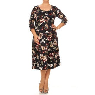 Women's Floral-print Plus-size Dress