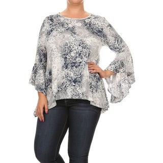 Women's Multicolored Long-sleeve Plus-size Floral Tunic