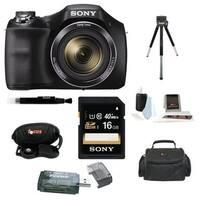 Sony Cyber-shot DSC-H300 Digital Camera (Black) with 16GB Accessory Kit