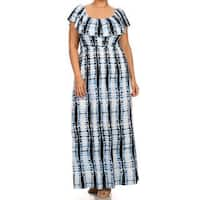 Women's Plus Size Tie Dye Ruffle Overlay Dress