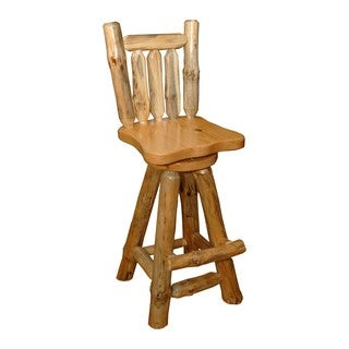 Set of 2 Rustic Pine Log Swivel Pub Chair