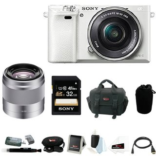 Sony Alpha a6000 24.3 Megapixel Mirrorless Digital Camera with Sony 50mm Lens and Sony 32GB SDHC Accessory Bundle (White)