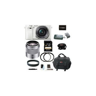 Sony Alpha a6000 Interchangeable Lens Camera with 16-50mm Power Zoom Lens (White) and Sony 50mm f/1.8 Mid-Range Lens (Silver)
