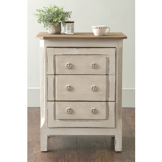 East At Main's Kersey Off-White Rectangular Teakwood Nightstand