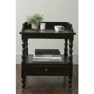 East At Main's Eckley Black Square Teakwood Accent Table