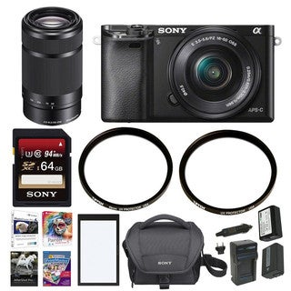 Sony a6000 Mirrorless Camera w/ 16-50mm & SEL55210B Lens & 64 GB SD Card Bundle