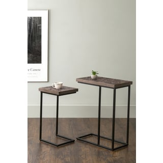 East At Main's Beloit Brown Rectangular Coconut Shell Accent Table (Set of 2)