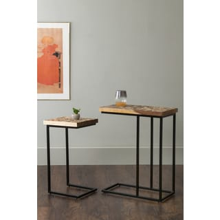 East At Main's Beloit Brown Rectangular Coconut Shell Accent Tables