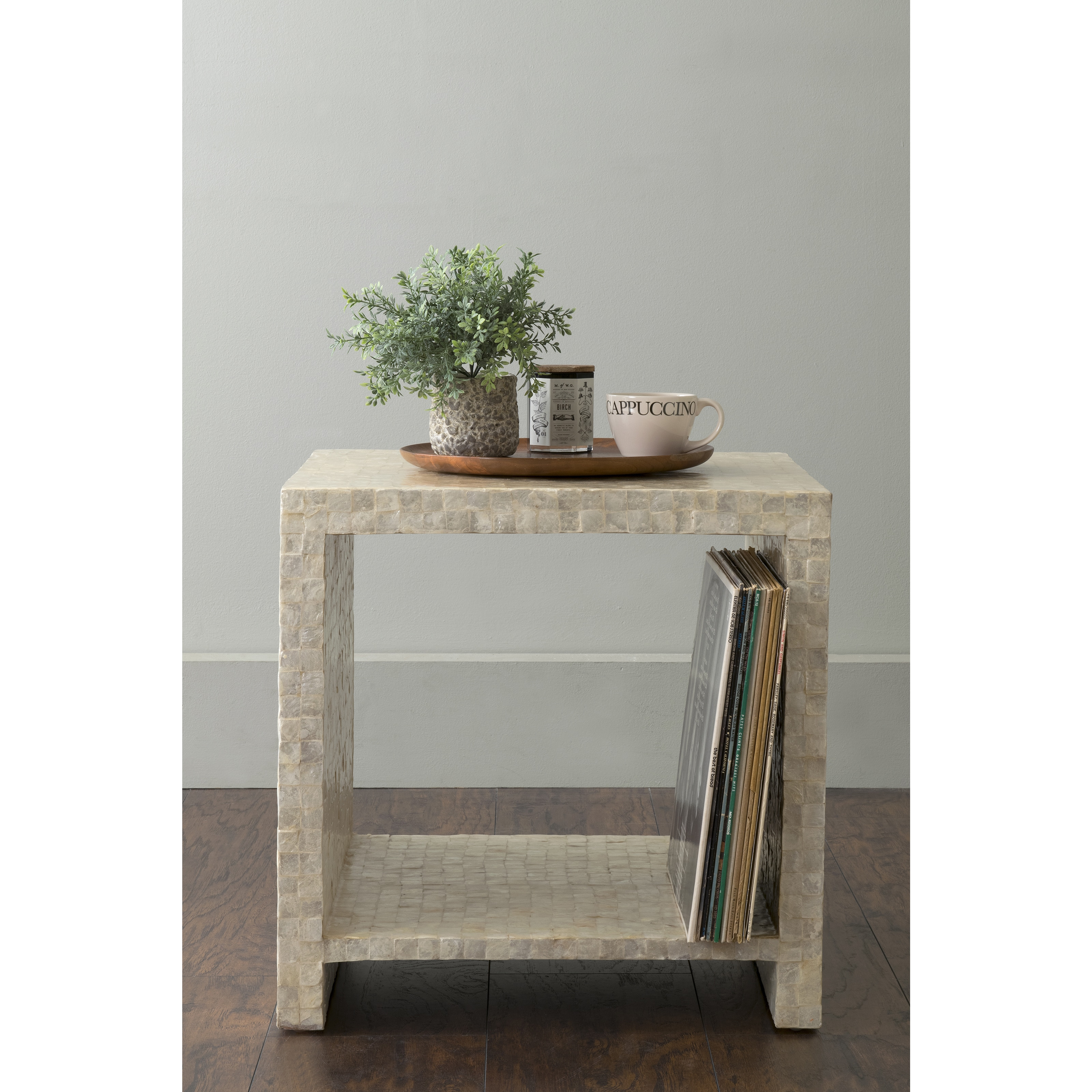 Clay Alder Home Ash Yutan Off White Square Wood And Capiz Accent Table