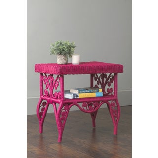East At Main's Roxie Pink Rectangular Rattan Accent Table