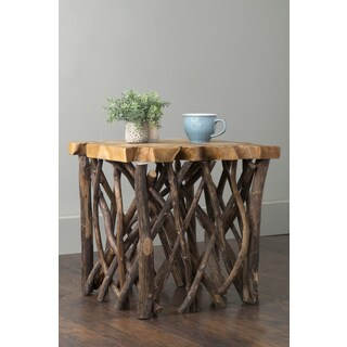 East At Main's Pope Brown Square Teakwood Accent Table