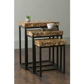 East At Main's Palo Brown Rectangular Teakwood Accent Nesting Table