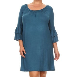Women's Rayon and Spandex Plus-size Solid Tiered Dress