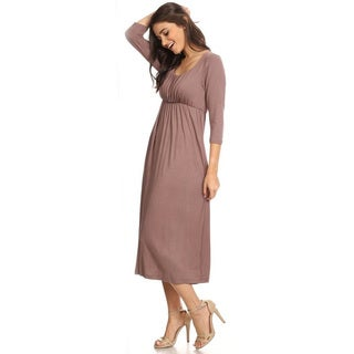 Women's Solid-color Rayon and Spandex Casual Dress