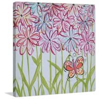 Marmont Hill - 'Whimsy Flowers' by Reesa Qualia Painting Print on Wrapped Canvas - Pink