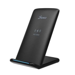Seneo Black Plastic Fast Wireless Charger with QI Wireless Charging Stand