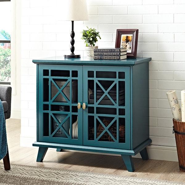 Blue Foyer Cabinet : Inch fretwork entryway console blue free shipping