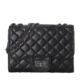 Diophy Quilted Pattern Medium Crossbody Handbag