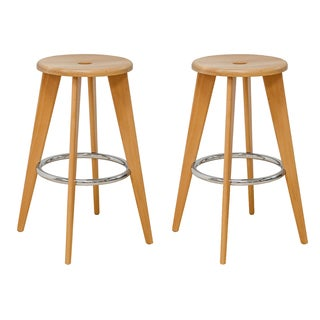 Mod Made Skylark Wooden 29-inch High Bar Stools with Chrome Footrest (Set of 2)