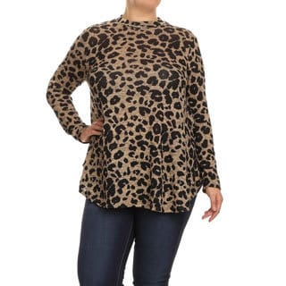 Women's Plus Size Cheetah Pattern Crewneck Top