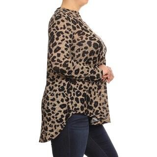 Women's Plus Size Cheetah Pattern Crewneck Top