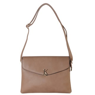 Diophy Front Gold Metal K Letter Clutch Accented with Removable Strap Crossbody Handbag (Option: Ivory)