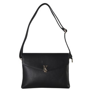 Diophy Front Gold Metal K Letter Clutch Accented with Removable Strap Crossbody Handbag