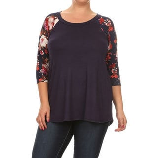 Women's Plus Size Floral Sleeve Tunic