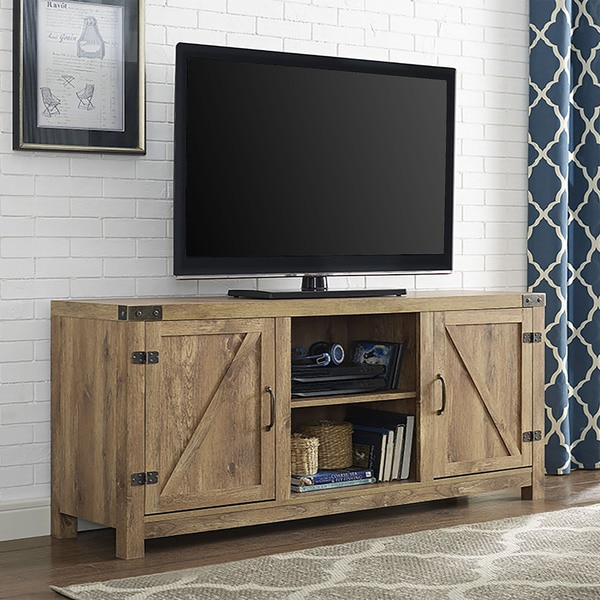 58 barn door tv stand with doors barnwood free shipping today 20492980. Black Bedroom Furniture Sets. Home Design Ideas