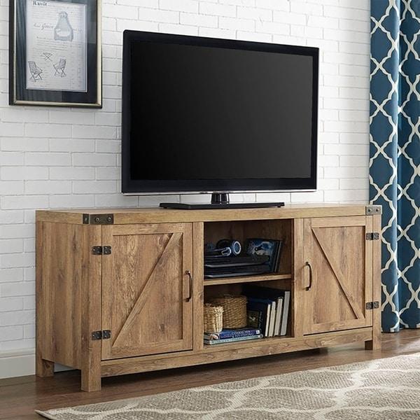 58-inch Barn Door TV Stand with Doors - Barnwood