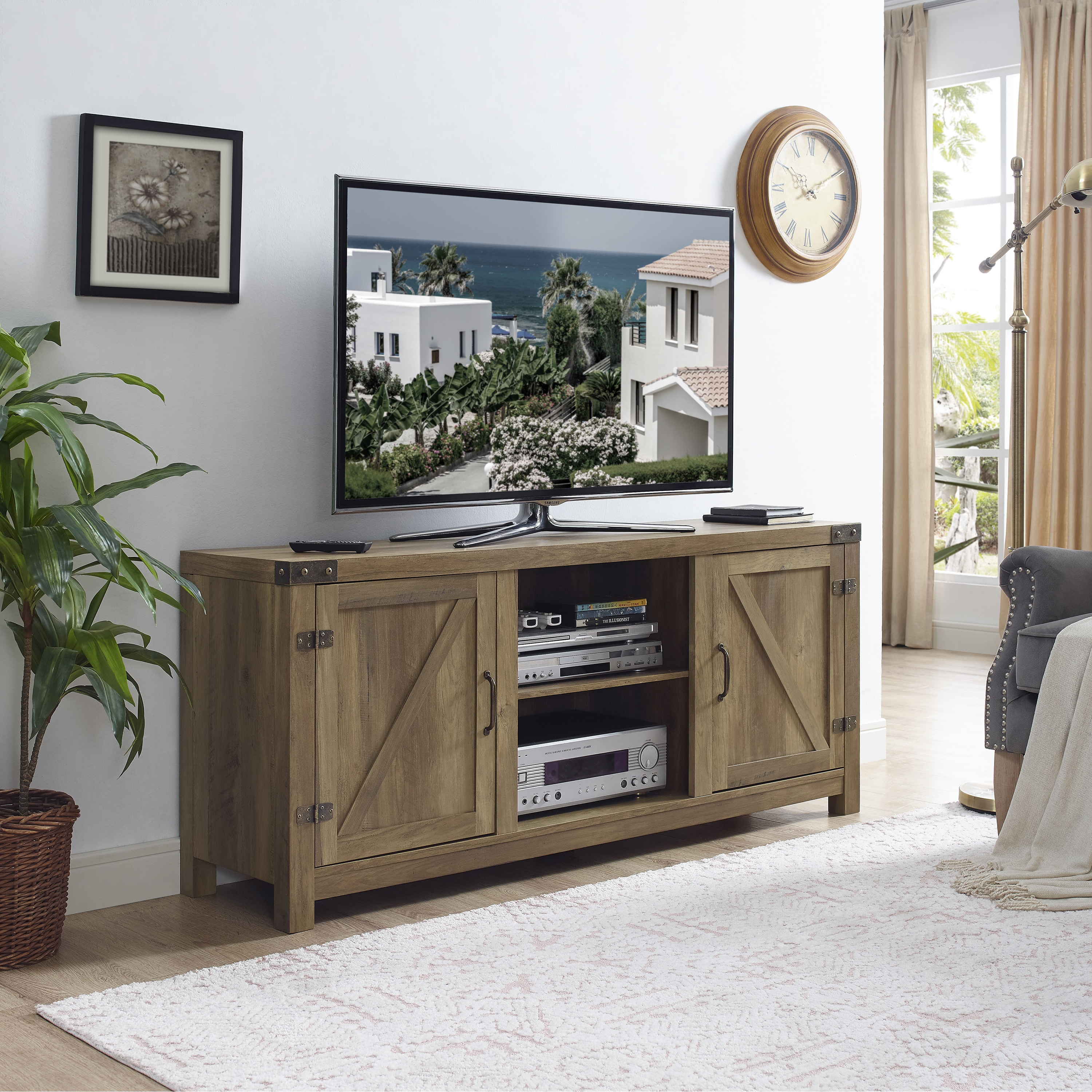 The Gray Barn Firebranch Barn Door TV Stand With Doors (2 Options Available) Great Ideas