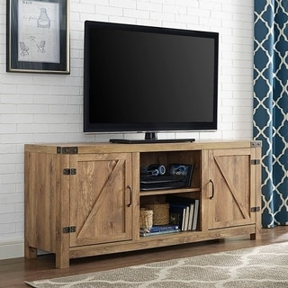 58inch barn door tv stand with doors barnwood