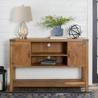 "52"" Barn Door Buffet Table Console TV Stand - Barnwood"