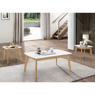 Retro Modern White/ Natural 42-inch Coffee Table