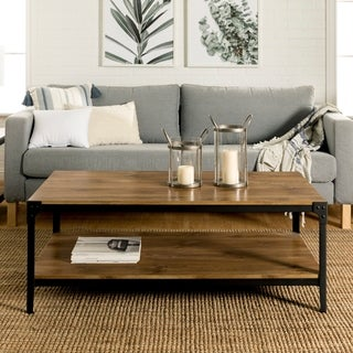 Rustic Angle Iron Barnwood 48-inch Wood Coffee Table