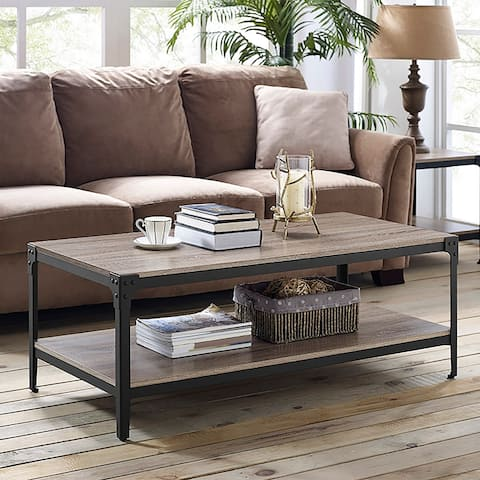 Carbon Loft Witten Angle Iron and Driftwood Coffee Table
