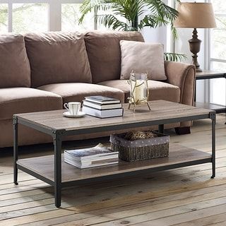 Rustic Angle Iron Driftwood 48-inch Wood Coffee Table