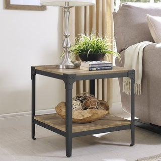 Rustic Angle Barnwood Iron Wood End Tables (Set of 2)