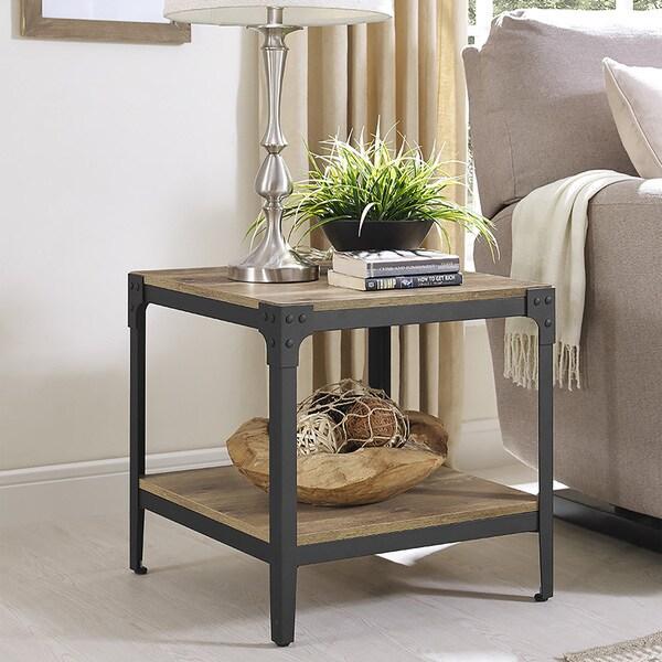 Beautiful Rustic Angle Barnwood Iron Wood End Tables (Set Of 2)