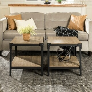 Angle Iron Rustic Wood End Table in Driftwood (Set of 2)