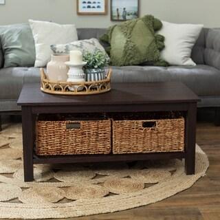 40-inch Coffee Table with Wicker Storage Baskets - Espresso