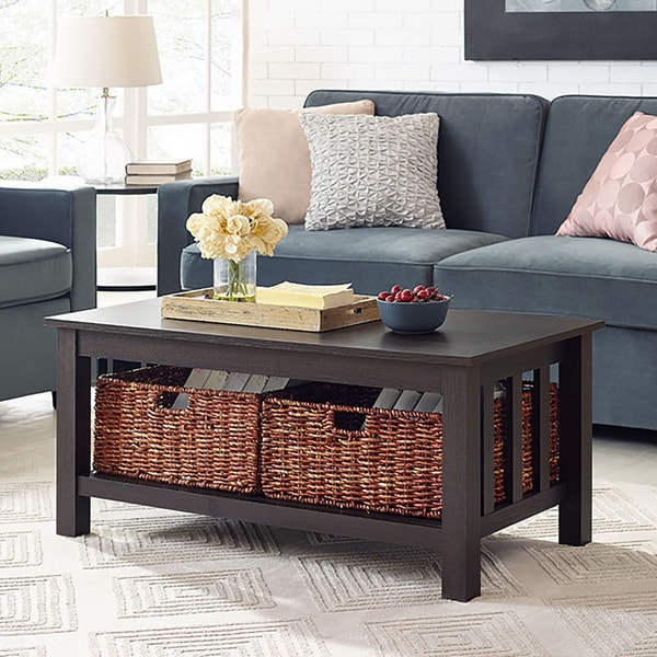 Wood Brown 40-inch Storage Coffee Table with Totes