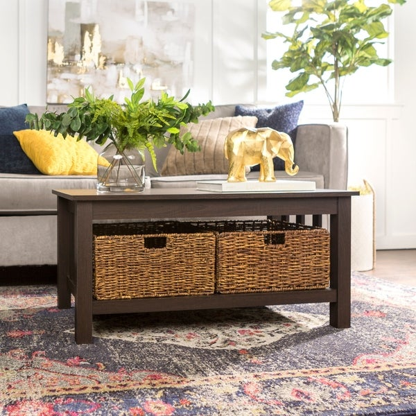 40-inch Brown Wood Coffee Table with Storage Totes