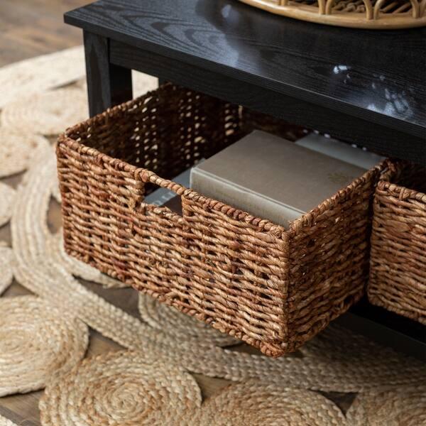 40 Coffee Table With Wicker Storage Baskets Black