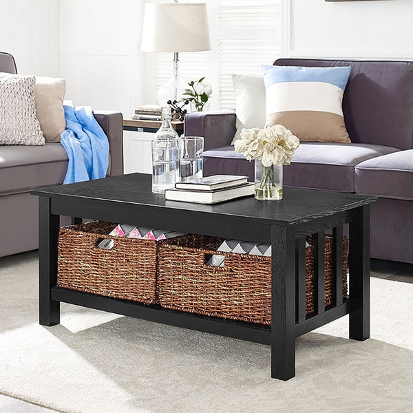 40-inch Black Wood Coffee Table with Storage Totes