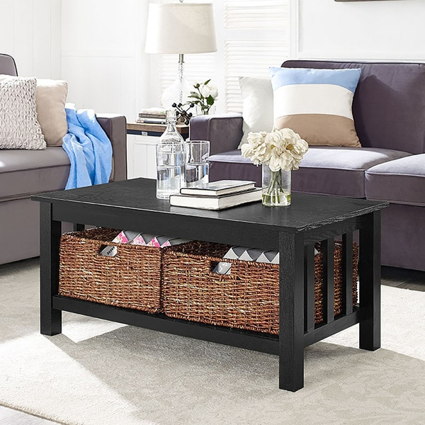 40 Coffee Table With Wicker Storage Baskets Black X 22