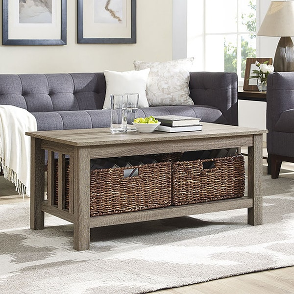 40 Square Driftwood Coffee Table: Shop 40-inch Driftwood Coffee Table With Storage Totes