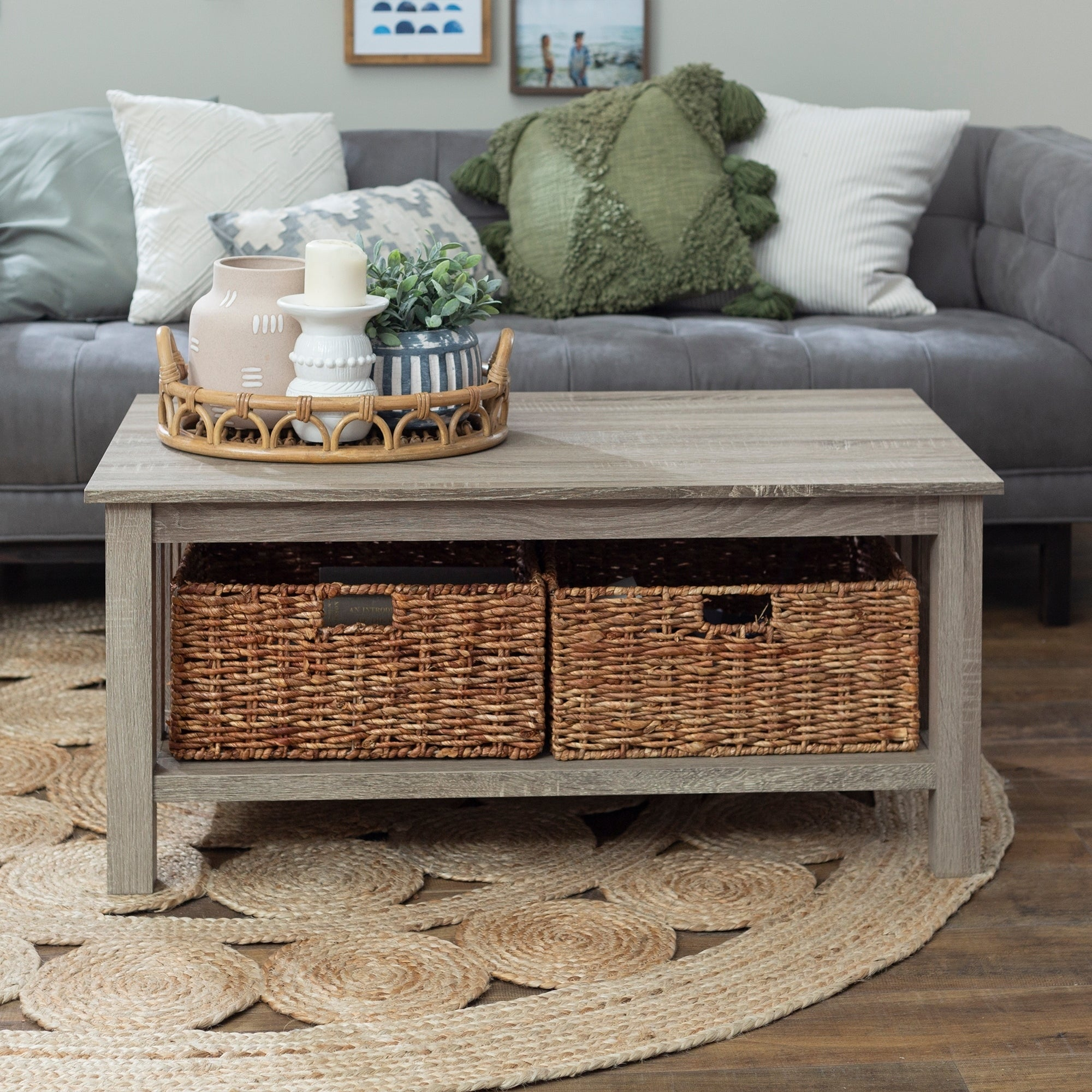 - Shop 40-inch Coffee Table With Wicker Storage Baskets - Driftwood