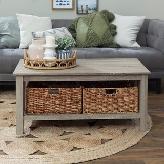 Wood Driftwood 40 Inch Storage Coffee Table With Totes