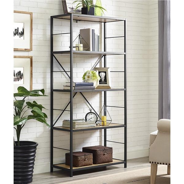 "60"" Rustic Metal and Wood Media Bookshelf - Barnwood"
